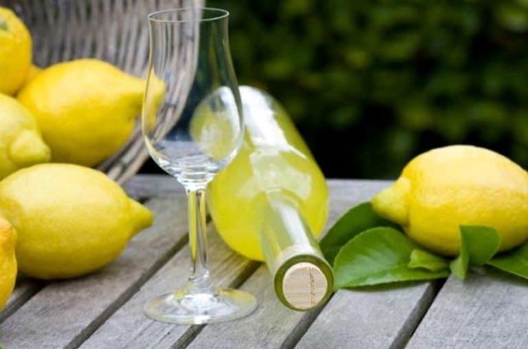 Ποτηράκι μπουκάλι και μερικά λεμόνια