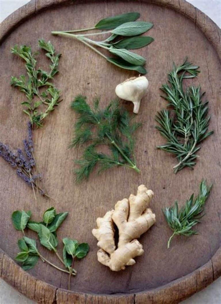 Ξύλινος δίσκος με βότανα